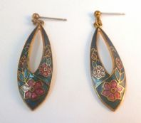 Vintage Dark Blue Floral Cloisonne Enamel Earrings By Fish And Crown